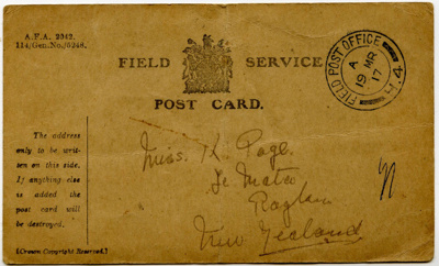 Postcard sent from the 'Field Post Office' making ...