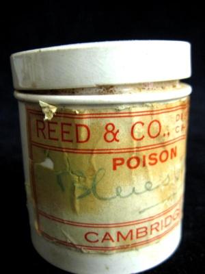 Ceramic pot for storing medical compounds. Inside ...