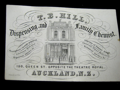 Business card for T.B. Hill, who opened the first ...