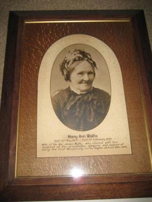 Framed photograph of Mrs Mary Ann Wallis.
