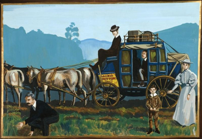 Painting shows Laurie Sutton's horse-drawn coach a...