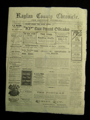 Raglan Chronicle Newspaper; October 2nd, 1903 ; 1983.13.10a