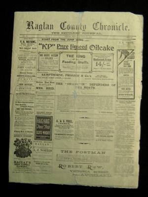 Raglan Chronicle Newspaper; October 2nd, 1903 ; 1983.13.10a