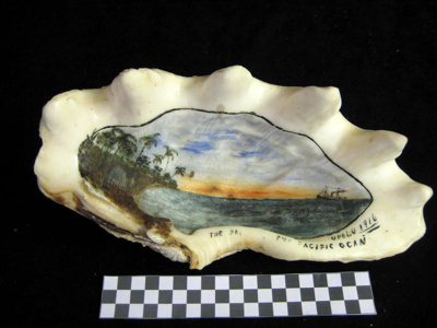 Large Clam shell with painting on the inside surfa...
