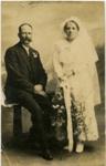 Mr & Mrs Arthur Moon on their wedding day ; X001.57.1