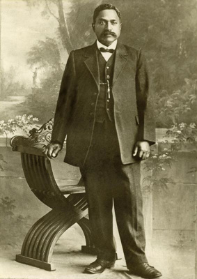 Whakawhiti poses for a photograph in an Edwardian ...