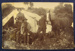 Postcard: Four men, 1 dog, 1 horse with tent behind, in bush; 0000.0795b
