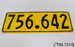 Plate, vehicle licence; CT80.1314j