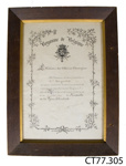 Certificate of appreciation; Ministry of Foreign Affairs, Belgium; 30.07.1919; CT77.305