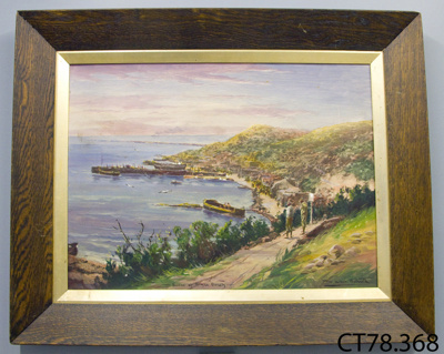 Painting [Scene of Anzac Beach]; Bollard, W Allen; 1918; CT78.368