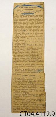 Clipping, newspaper [Kahuika School Picnic]; [?]; [?]; CT04.4112.9