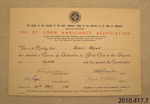 Certificate of achievement [James Macalister Brown]; St John Ambulance Association; 1962; 2010.417.7.3