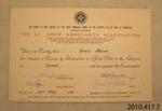 Certificate of achievement [James Macalister Brown]; St John Ambulance Association; 1962; 2010.417.7.3