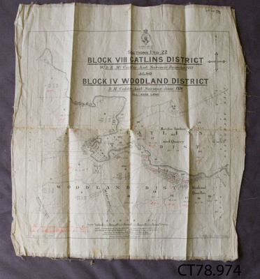Map; Catlins District, 1890; Otago Survey Litho Press; c1890; CT78.974