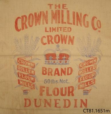 Bag, flour; Crown Milling Co Ltd; [?]; CT81.1561m