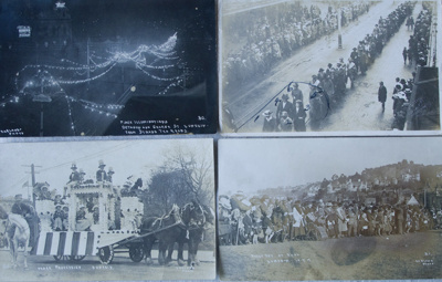 Postcards, WWI, Dunedin, Recruitment March and Peace Procession.; 1916-1919; CT78.812