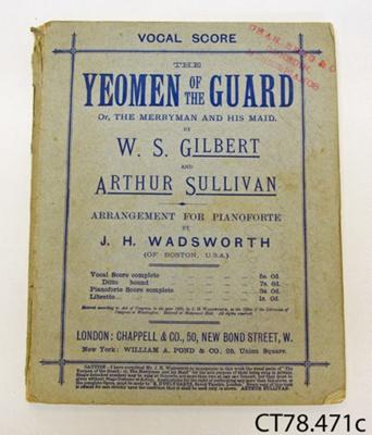 Book, music [Yeoman of the Guard]; Sullivan, Arthur; CT78.471c