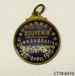 Badge, commemorative; [?]; c1915; CT78.847d