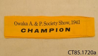 Ribbon, prize; [?]; 1941; CT85.1720a