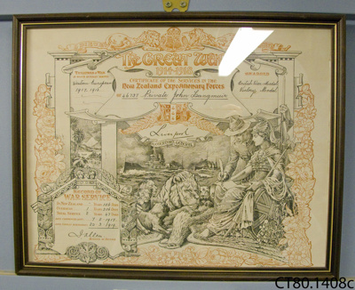 Certificate of service [Private John Langmuir]; Hawcridge, Robert H; c1918; CT80.1408c