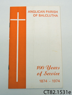 Booklet [Anglican Parish of Balclutha]; Anglican Parish of Balclutha; 1974; CT82.1531e