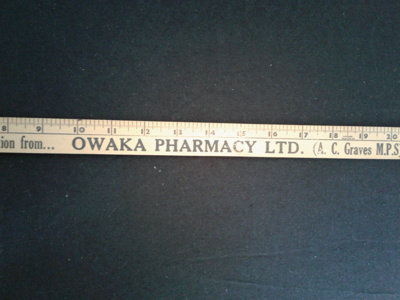 Wooden ruler, 3 foot, from Owaka Pharmacy; 0000.0160