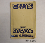Book, Games for Socials, 1946; Hedges, Sid G; 1946; 2010.505