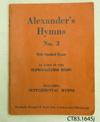 Book, Alexander's Hymns No. 3; Marshall, Morgan & Scott Ltd; [?]; CT83.1645 j, l