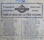 Lyric Sheet, Returned Soldiers' Association, Hymns for Anzac Day and Other Occasions; Owaka News Print; [?]; CT96.2077.3