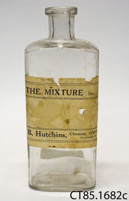Bottle, medicine; G B Hutchins, Pharmaceutical Chemist; [?]; CT85.1682c