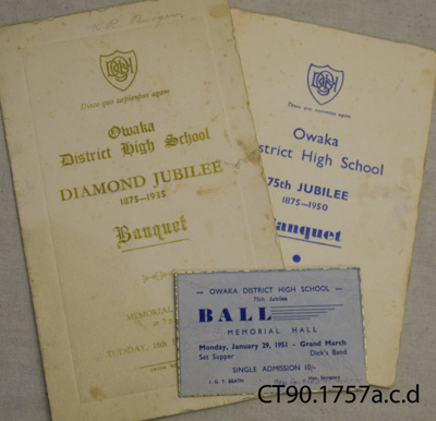 Ephemera, Owaka District High School Diamond Jubilee, 1875-1935 and 75th Jubilee, 1875-1950.; Owaka District High School Ball and Banquet Committees; 1936; CT90.1757 a, c, d