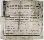 Licence, driver's; Clutha County Council; 1925; 2009.9.2.9