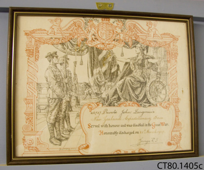 Certificate of Honourable Discharge [Private John Langmuir]; Partridge, Bernard; c1919; CT80.1405a