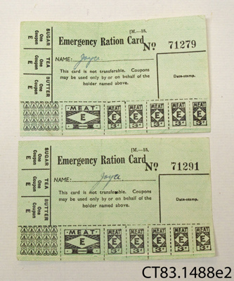 Cards, emergency ration; [?]; early 20th century; CT83.1488e2