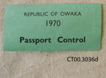 Ephemera, Republic of Owaka, 1970; [?]; 1970; CT00.3036d