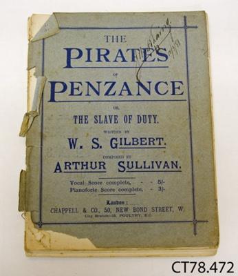 Book, music [The Pirates of Penzance]; Sullivan, Arthur; c1880; CT78.472