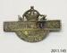Badge, military; New Zealand Returned Services Association; c1919; 2011.145