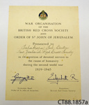 Certificate [Tahakopa Sub-Centre, New Zealand Red Cross]; Order of St John of Jerusalem; 1945; CT88.1857a