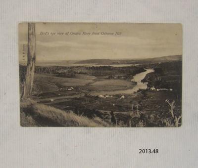 Postcard [Bird's eye view of Owaka River from Osborne Hill]; J.H.P. Series; [?]; 2013.48