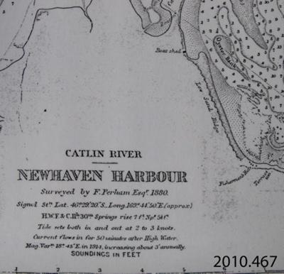 Map, Catlin River, Newhaven Harbour, 1880.; Perham, F; 1880; 2010.467