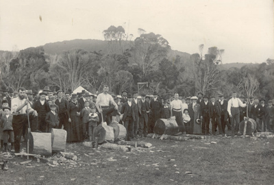 Photograph [Wood Chopping Competition, Molyneux Sports]; Clayton Photo, Gore; Early 20th century; CT80.1294c
