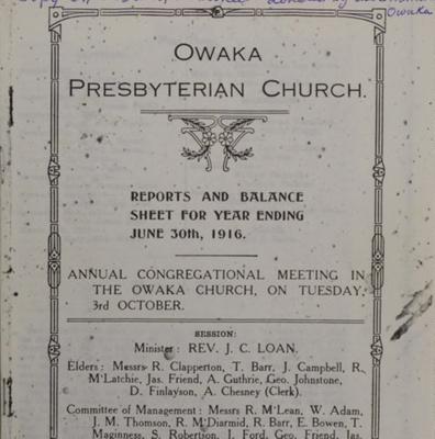 Report, Owaka Presbyterian Church, Reports and Balance Sheet, 1916; Owaka Presbyterian Church; 2010.339