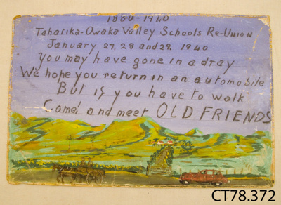 Sign [Tahatika-Owaka Valley Schools Reunion]; [?]; 1940; CT78-372