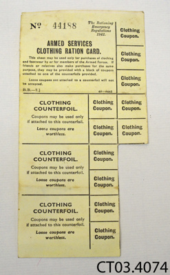 Card, ration; The Rationing Emergency Regulations; 1942; CT03.4074
