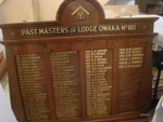 Plaque, honours board [Past Masters of Lodge Owaka No. 180]; [?]; 20th century; 2013.47.6
