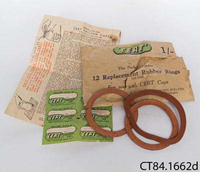 Packet [preserving jar seals]; Cert Closures (N.Z.) Ltd; CT84.1662d