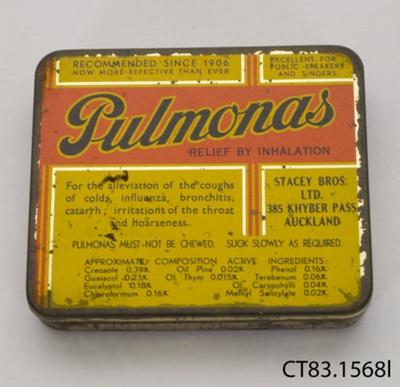 Tin, medicine; Stacey Bros Ltd; Post 1906; CT83.1568l