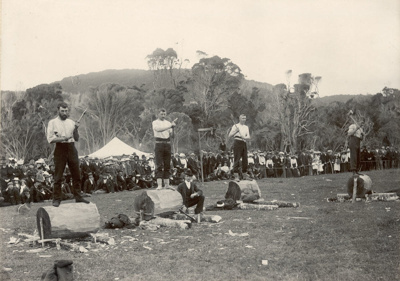 Photograph [Wood Chopping Competition, Molyneux Sports]; [?]; Early 20th century; CT80.1294b
