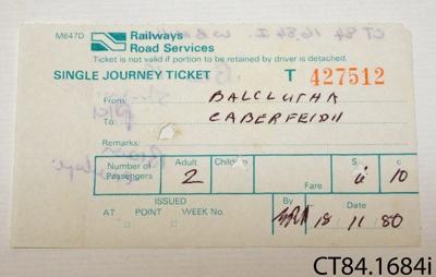 Ticket, train ; Railways Road Services; 18.11.1980; CT84.1684i