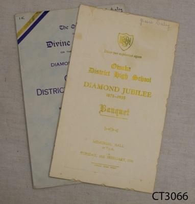 Ephemera, Owaka District High School Diamond Jubilee Banquet Menu and Divine Service, 1875-1935; Owaka District High School Jubilee Committee; 1935; 2010.348